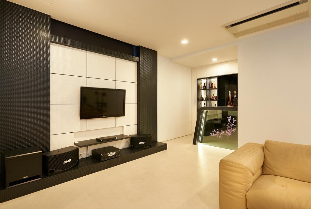 Modern, Landed, Living Room, Goodman Road, Interior Designer, U-Home Interior Design, Electronics, Entertainment Center, Home Theater, Indoors, Interior Design