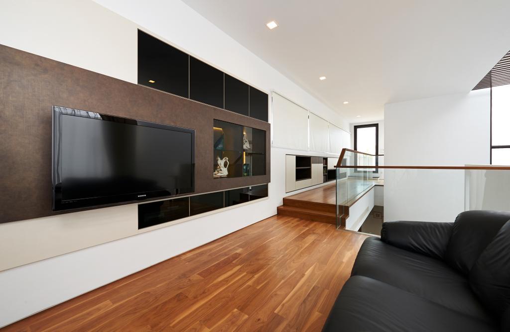 Modern, Landed, Living Room, Goodman Road, Interior Designer, U-Home Interior Design, Flooring, Hardwood, Wood, Electronics, Entertainment Center