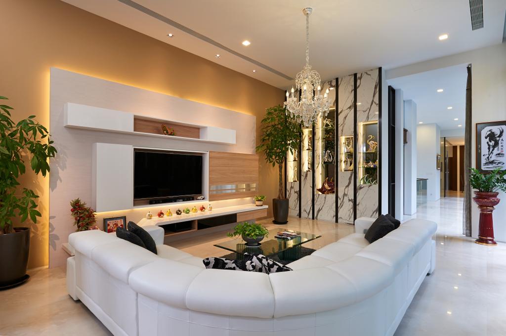 Modern, Landed, Living Room, Goodman Road, Interior Designer, U-Home Interior Design, Indoors, Interior Design, Appliance, Electrical Device, Microwave, Oven, Couch, Furniture, Flora, Jar, Plant, Potted Plant, Pottery, Vase