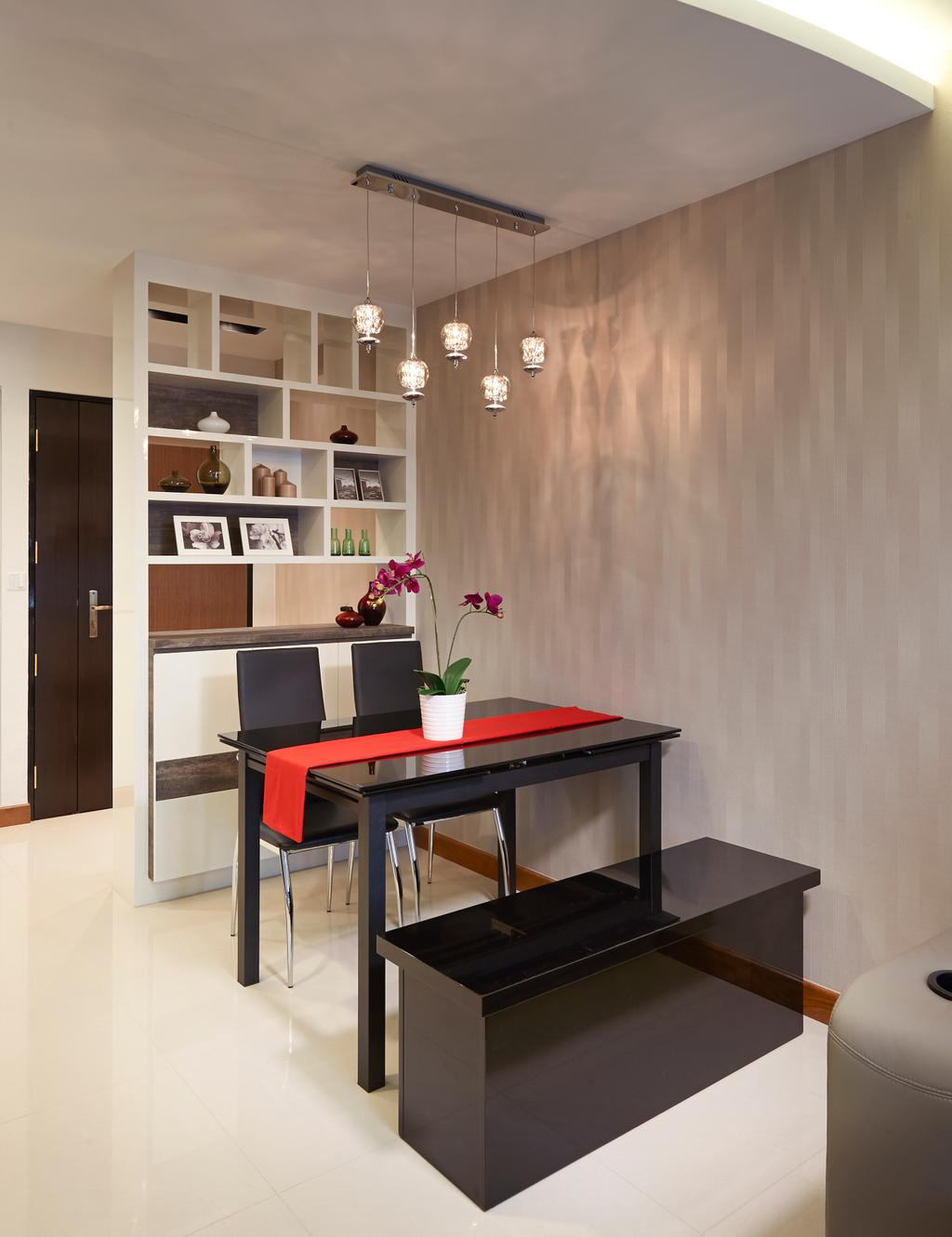 Modern, HDB, Dining Room, Anchorvale Cove, Interior Designer, U-Home Interior Design, Dining Table, Furniture, Table, Indoors, Interior Design, Room