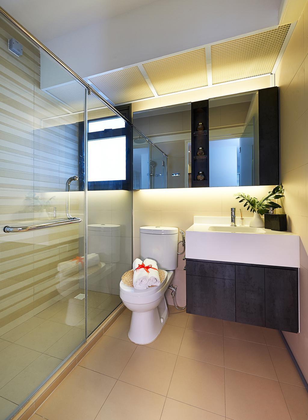 Modern, HDB, Bathroom, Anchorvale Cove, Interior Designer, U-Home Interior Design, Flora, Jar, Plant, Potted Plant, Pottery, Vase