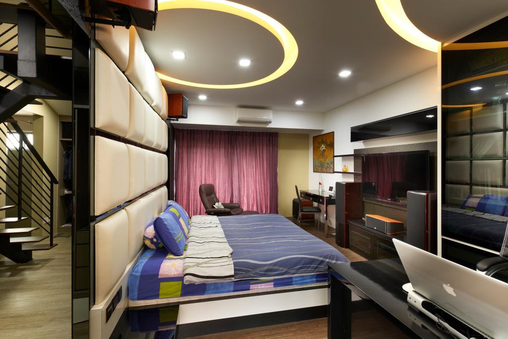 Contemporary, Landed, Bedroom, Jalan Terubok, Interior Designer, U-Home Interior Design, Banister, Handrail, Staircase