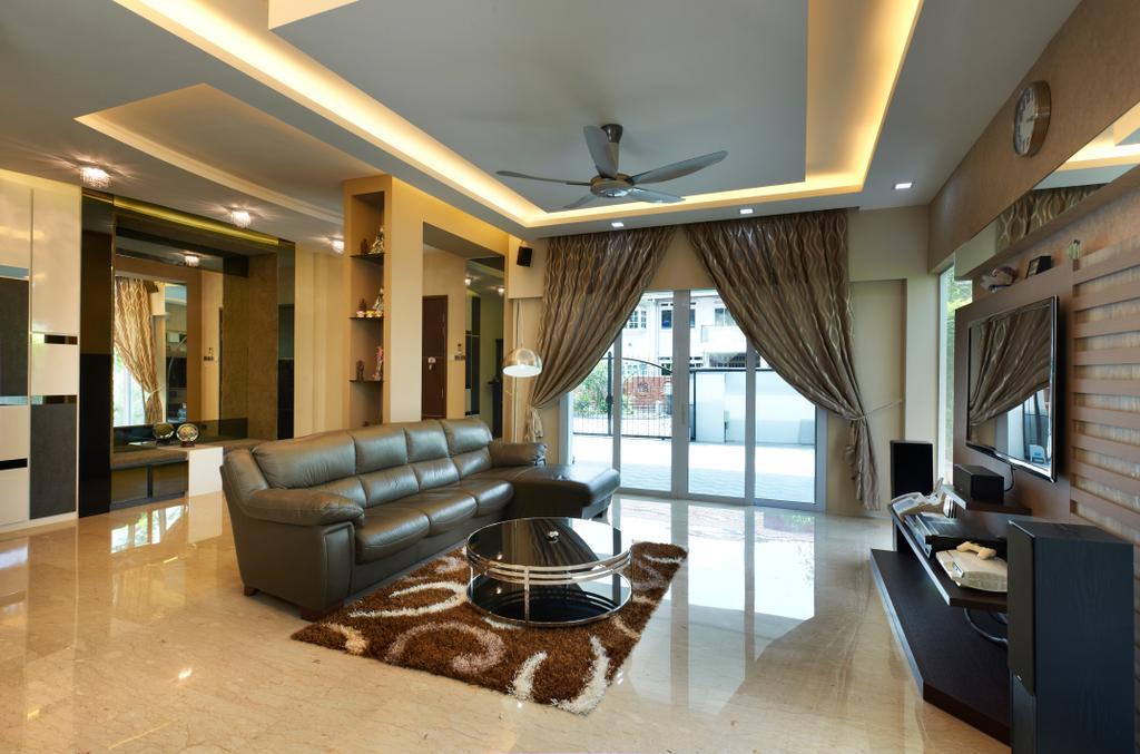 Contemporary, Landed, Living Room, Jalan Terubok, Interior Designer, U-Home Interior Design, Couch, Furniture, HDB, Building, Housing, Indoors, Loft, Room