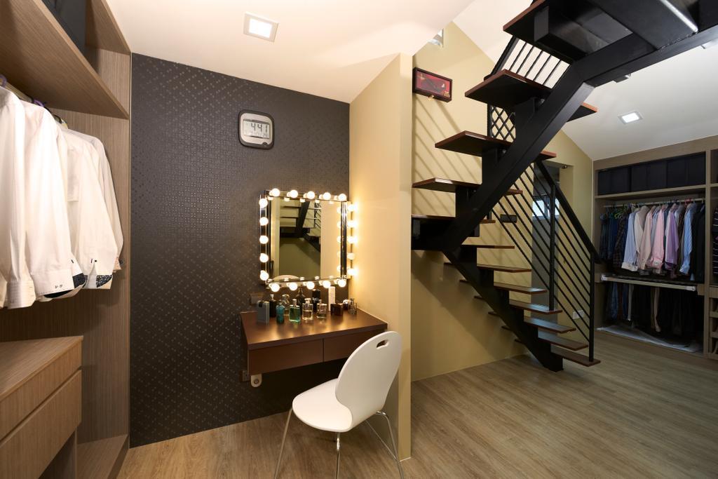 Contemporary, Landed, Bedroom, Jalan Terubok, Interior Designer, U-Home Interior Design, Banister, Handrail, Staircase, Indoors, Interior Design, Closet, Furniture, Wardrobe