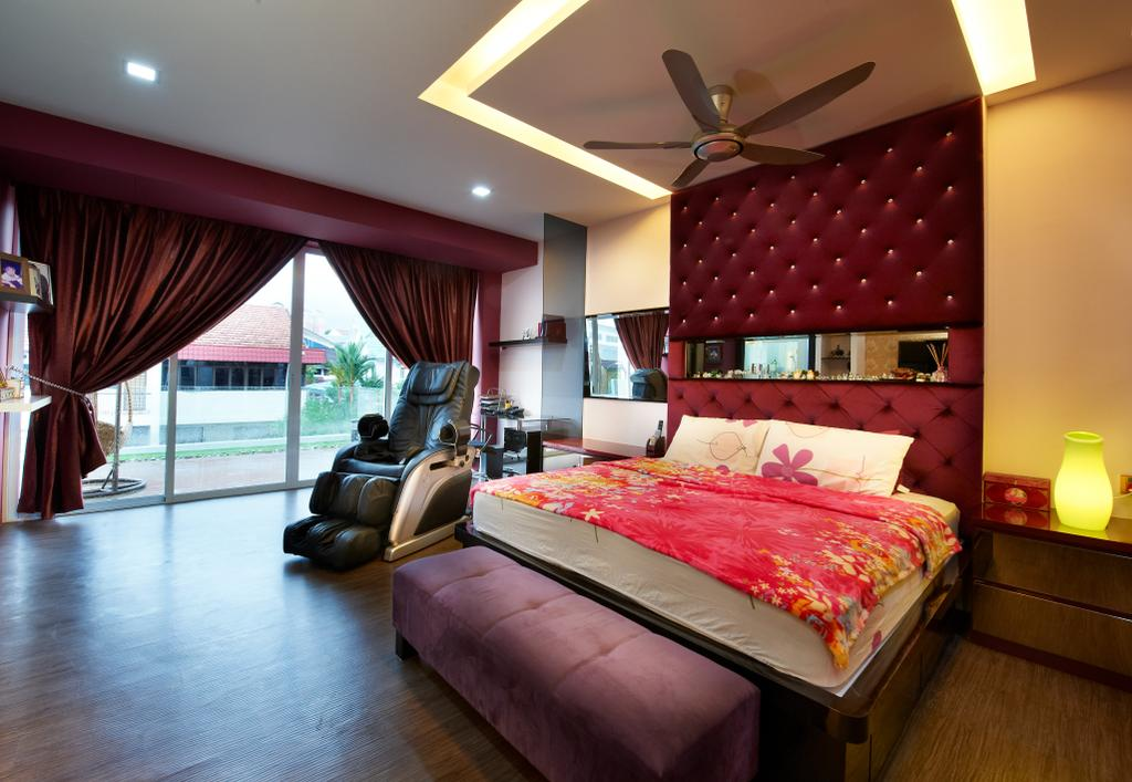 Contemporary, Landed, Bedroom, Jalan Terubok, Interior Designer, U-Home Interior Design, Bed, Furniture, Indoors, Interior Design, Room