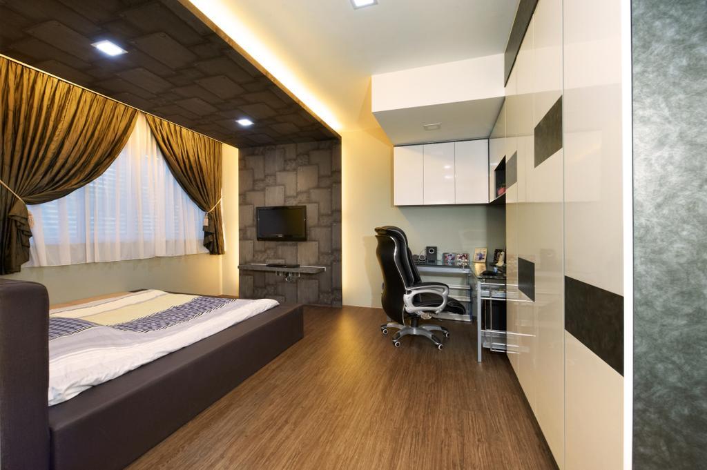 Contemporary, Landed, Study, Jalan Terubok, Interior Designer, U-Home Interior Design, Indoors, Room, Flooring, Bed, Furniture, Interior Design