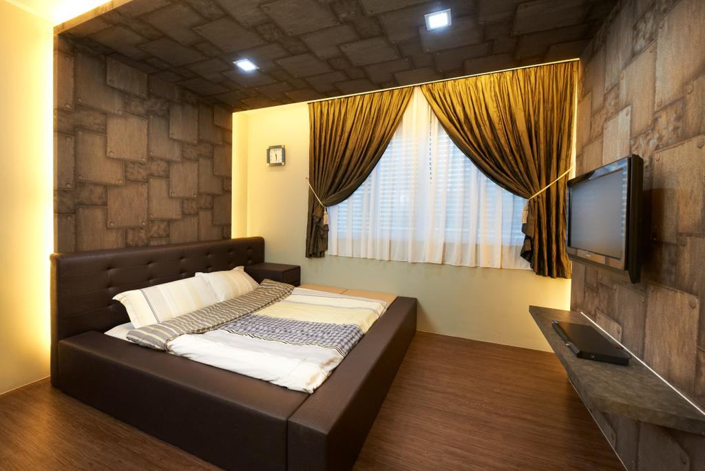 Contemporary, Landed, Bedroom, Jalan Terubok, Interior Designer, U-Home Interior Design, Bed, Furniture, Indoors, Room, Electronics, Monitor, Screen, Tv, Television, Interior Design, Plywood, Wood