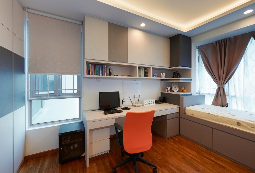 Modern, Condo, Study, Kovan Melody, Interior Designer, U-Home Interior Design, Shelf, Chair, Furniture
