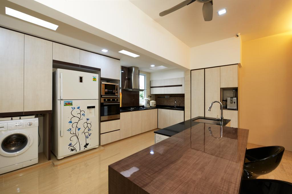Contemporary, Landed, Kitchen, Jalan Terubok, Interior Designer, U-Home Interior Design, Bowl, Dining Table, Furniture, Table, Appliance, Electrical Device, Washer, Plywood, Wood