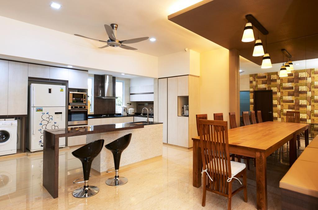Contemporary, Landed, Dining Room, Jalan Terubok, Interior Designer, U-Home Interior Design, Indoors, Interior Design, Library, Room, Lighting, Furniture, Dining Table, Table, Chair