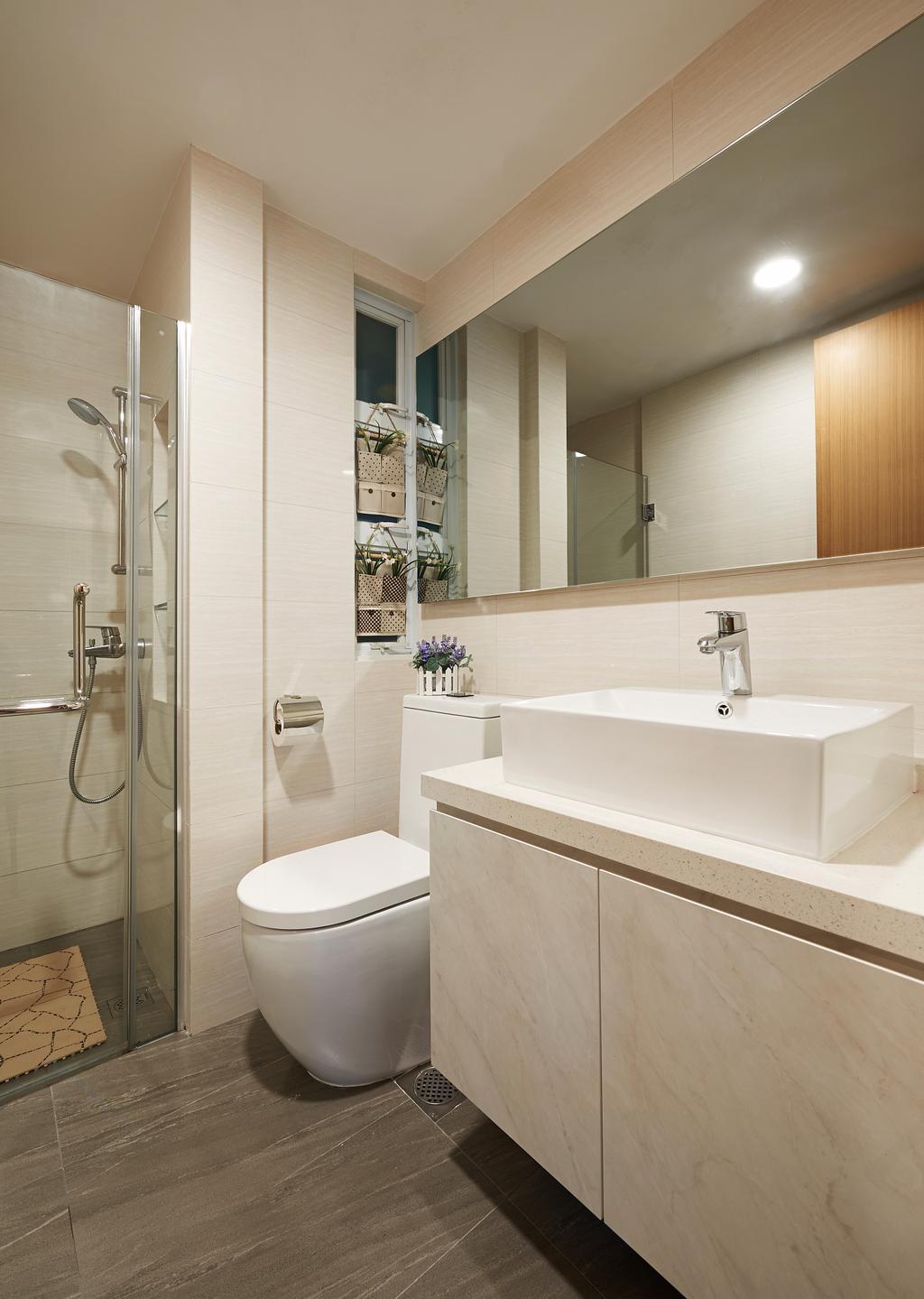Modern, Condo, Bathroom, Kovan Melody, Interior Designer, U-Home Interior Design, Indoors, Interior Design, Room, Toilet, Sink