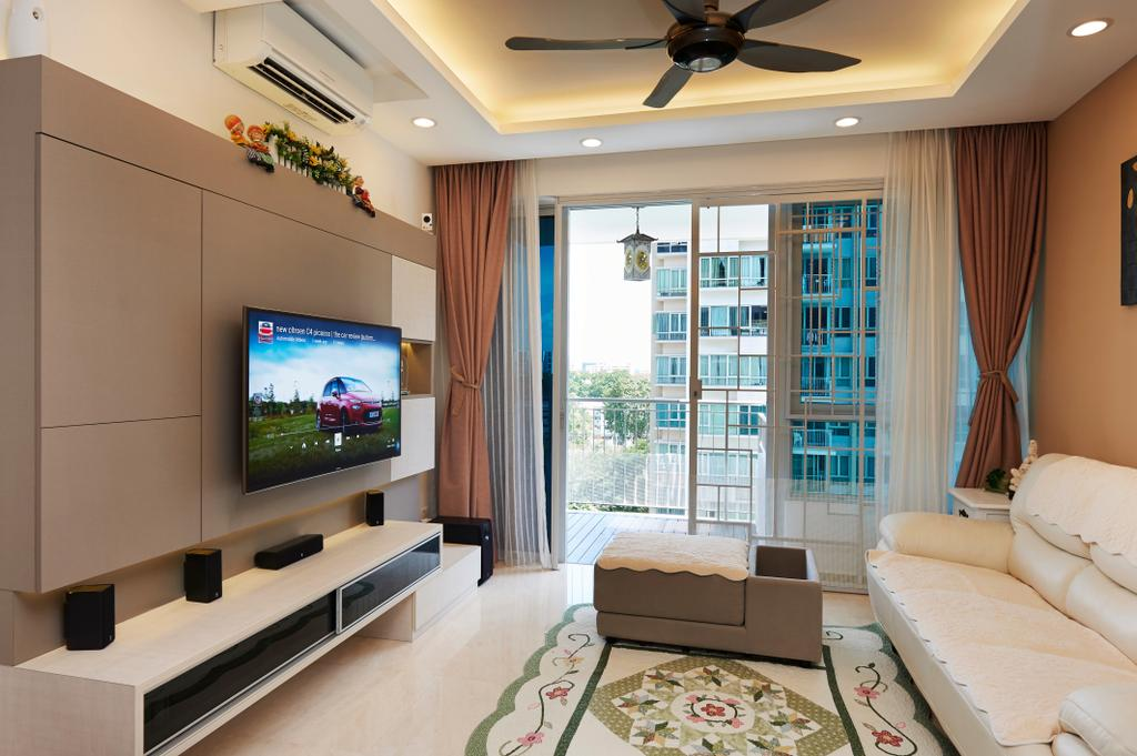 Modern, Condo, Living Room, Kovan Melody, Interior Designer, U-Home Interior Design, Electric Fan, Indoors, Interior Design, Couch, Furniture, Electronics, Lcd Screen, Monitor, Screen