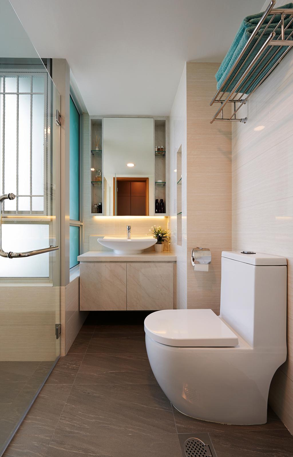 Modern, Condo, Bathroom, Kovan Melody, Interior Designer, U-Home Interior Design, Indoors, Interior Design, Room, Shelf
