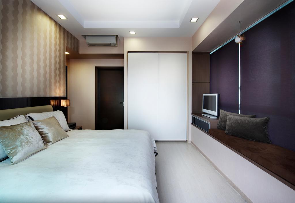 Modern, Condo, Bedroom, Livia, Interior Designer, U-Home Interior Design, Corridor, Indoors, Room, Interior Design, Bed, Furniture, Door, Sliding Door