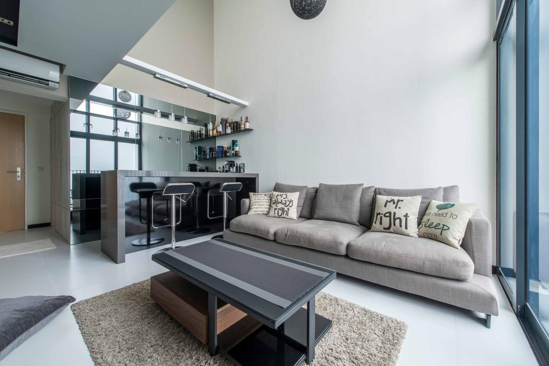 Sky Terrace, U-Home Interior Design, Modern, Living Room, HDB, Dining Table, Furniture, Table, Couch, Chair, Air Conditioner