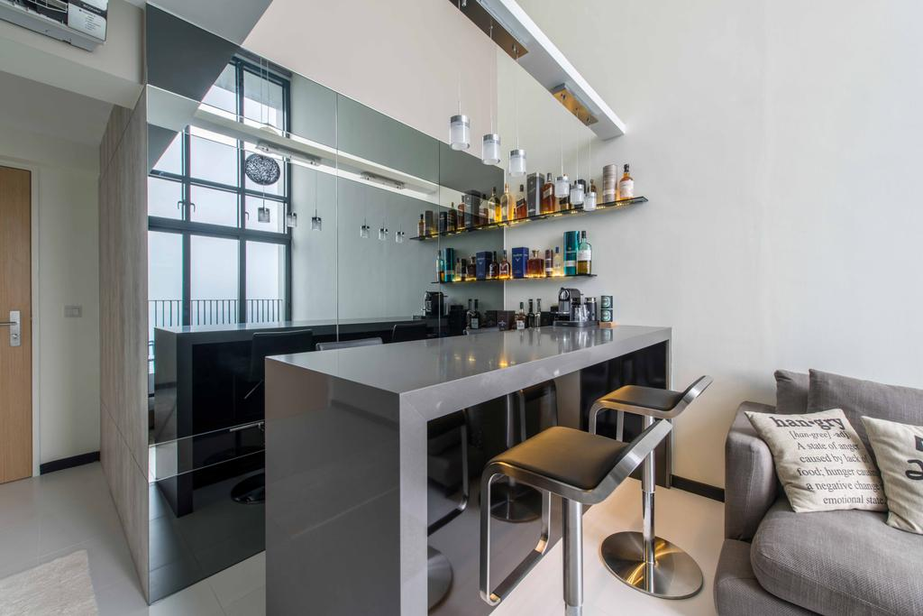 Modern, HDB, Living Room, Sky Terrace, Interior Designer, U-Home Interior Design, Chair, Furniture, Dining Table, Table, Building, Housing, Indoors, Loft