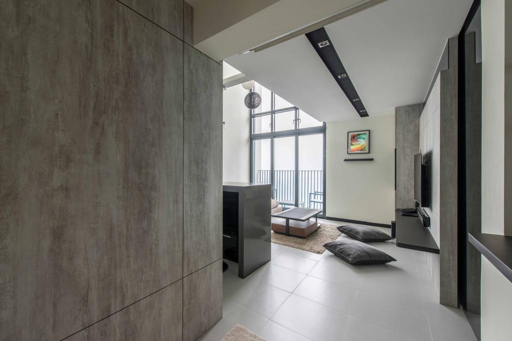 Modern, HDB, Living Room, Sky Terrace, Interior Designer, U-Home Interior Design, Building, Housing, Indoors, Loft, Door, Sliding Door