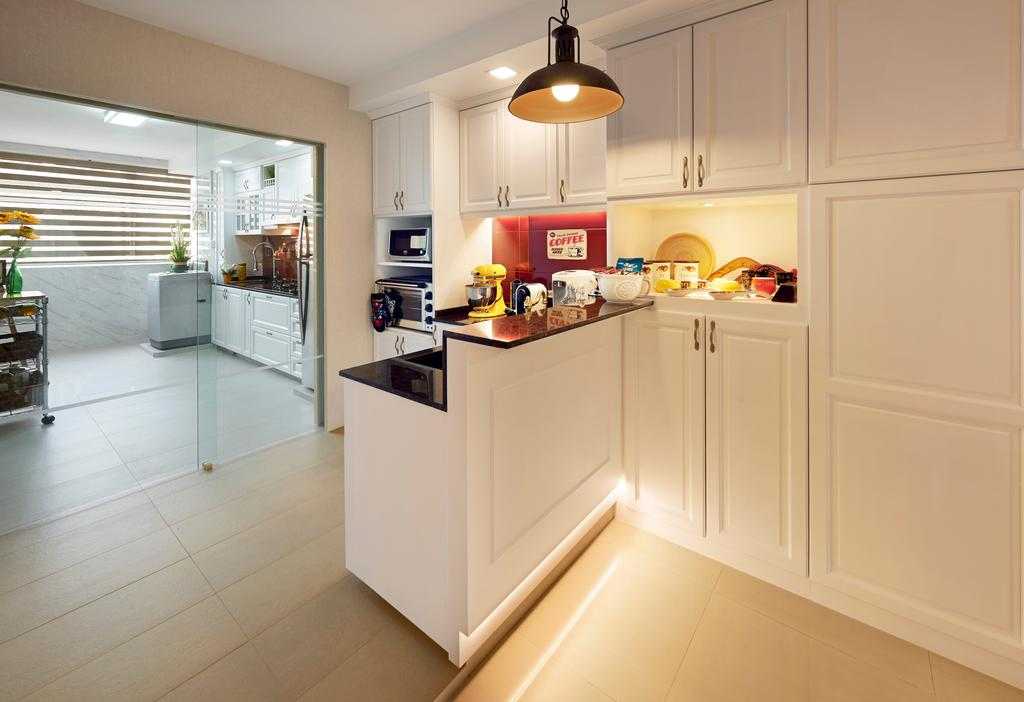Eclectic, HDB, Kitchen, Simei, Interior Designer, U-Home Interior Design, Indoors, Interior Design
