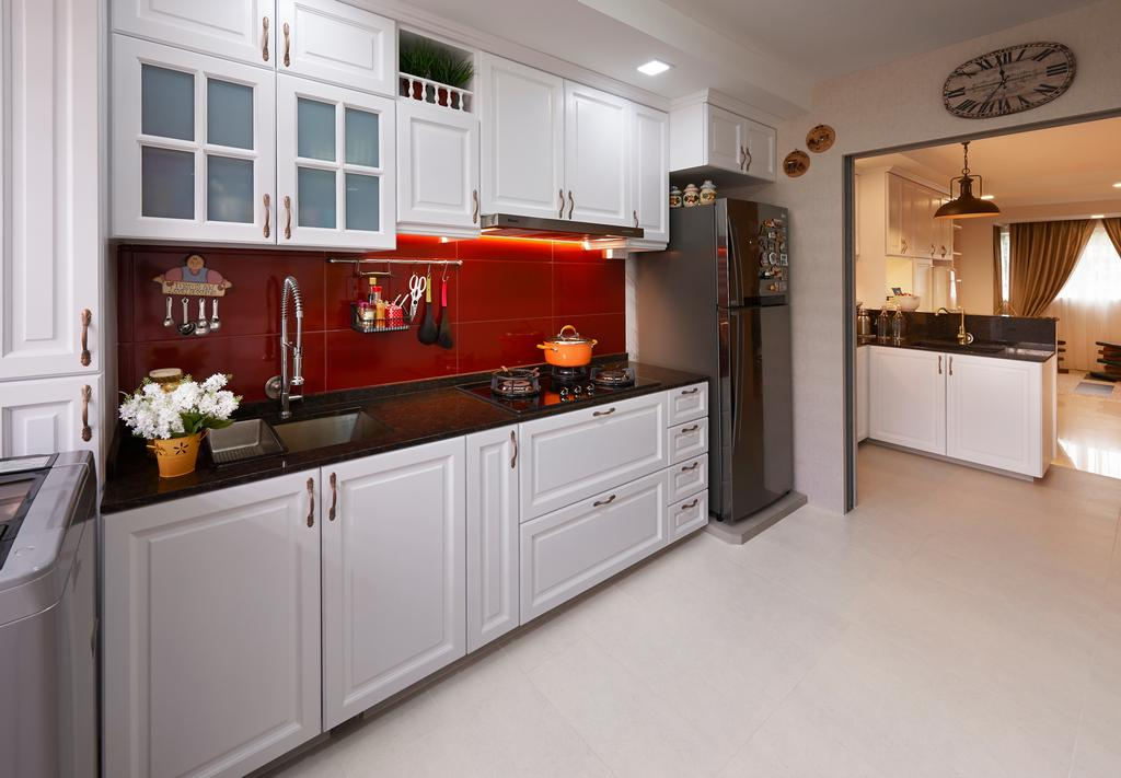 Eclectic, HDB, Kitchen, Simei, Interior Designer, U-Home Interior Design, Indoors, Interior Design, Room