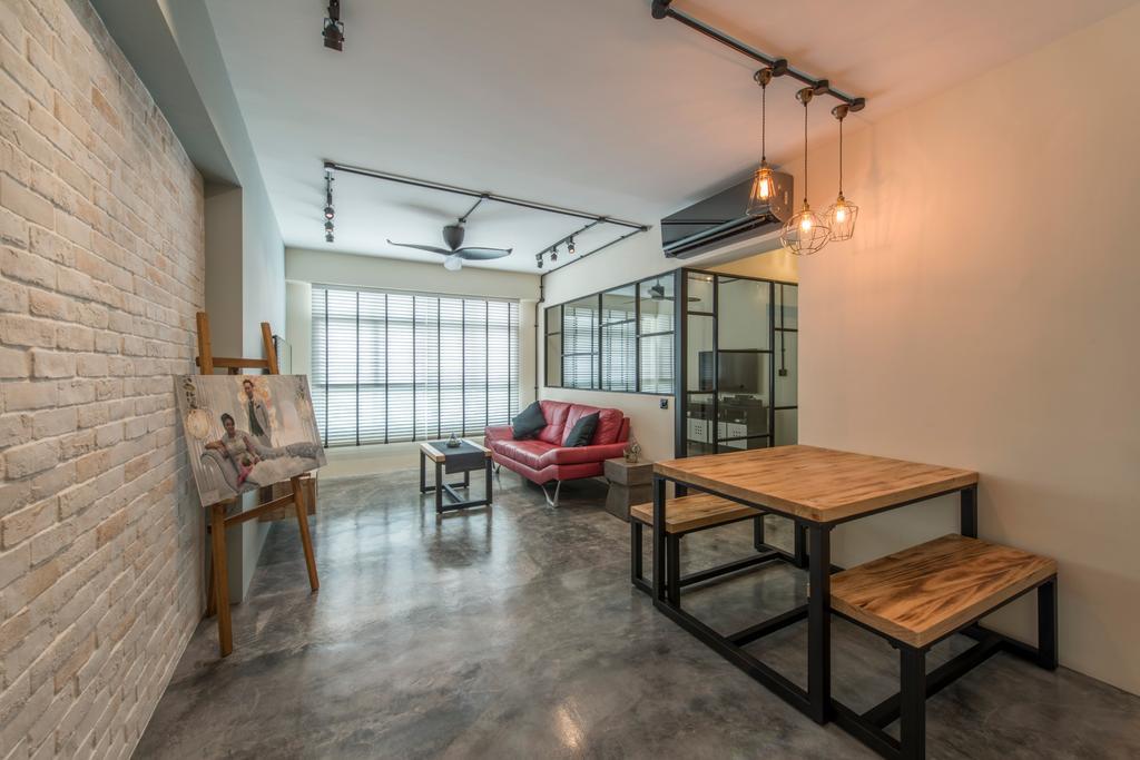 Scandinavian, HDB, Dining Room, Sunshine Gardens, Interior Designer, U-Home Interior Design, Dining Table, Furniture, Table