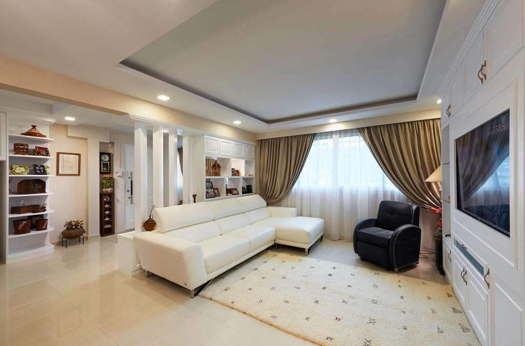 Eclectic, HDB, Living Room, Simei, Interior Designer, U-Home Interior Design, Couch, Furniture, Molding, Indoors, Interior Design