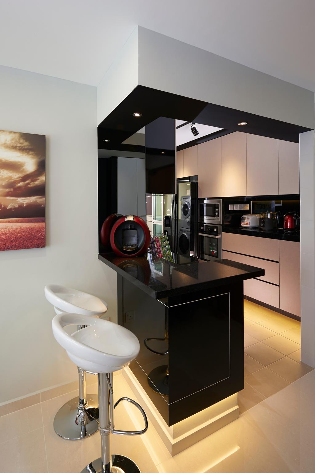 Contemporary, HDB, Kitchen, Tiong Bahru View, Interior Designer, U-Home Interior Design, Toilet, Door, Sliding Door