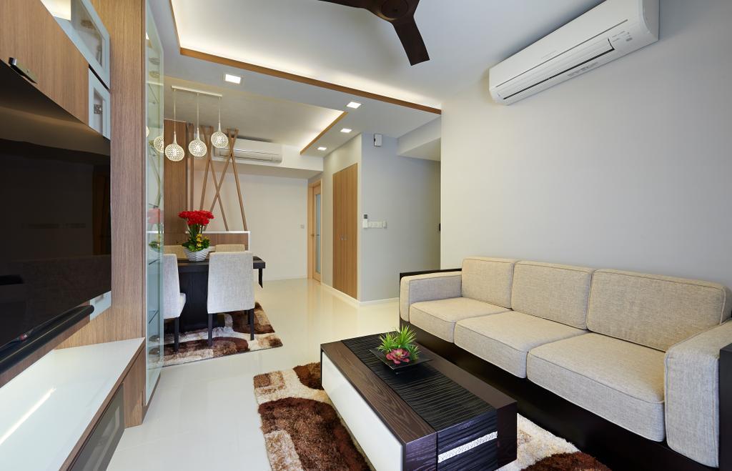 Modern, HDB, Living Room, The Rainforest, Interior Designer, U-Home Interior Design, Couch, Furniture, Indoors, Interior Design