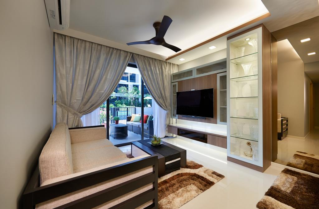 Modern, HDB, Living Room, The Rainforest, Interior Designer, U-Home Interior Design, Electronics, Entertainment Center, Balcony, Indoors, Interior Design