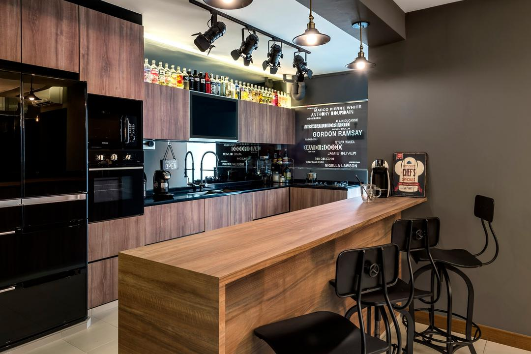 Yishun Natura, D5 Studio Image, Contemporary, Kitchen, HDB, Gray Wall, Grey Wall, Bar Counter, Wooden Counter, Bar Stool, Full Hack, Breakfast Counter, Brown And Black, Black Fridge, Oven, Track Lights, Chair, Furniture, Lighting, Dining Table, Table