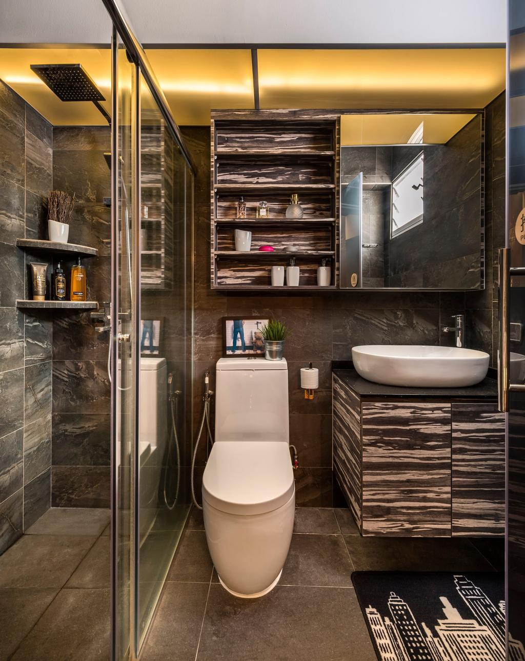 Contemporary, HDB, Bathroom, Yishun Natura, Interior Designer, D5 Studio Image, Rustic, Laminate, Laminate In Bathroom, Vanity Cabinet, Indoors, Interior Design, Room