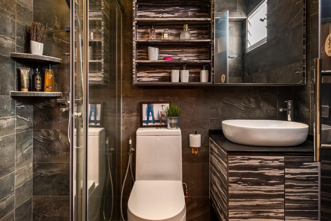 Yishun Natura, D5 Studio Image, Contemporary, Bathroom, HDB, Rustic, Laminate, Laminate In Bathroom, Vanity Cabinet, Indoors, Interior Design, Room