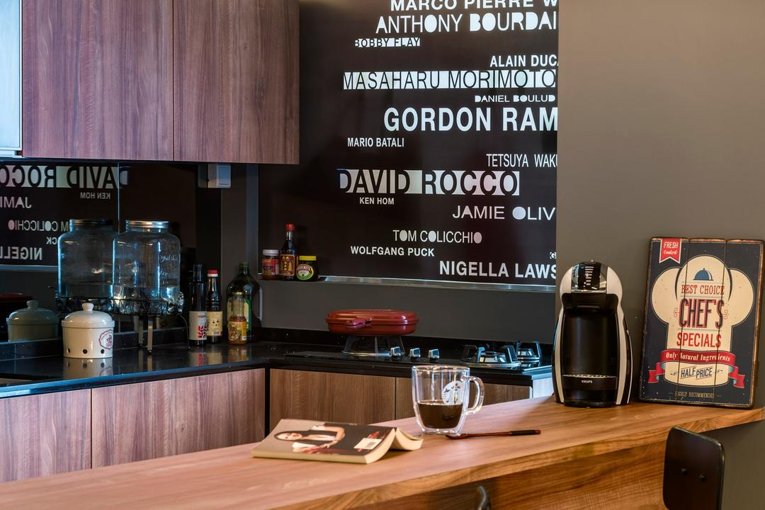 Yishun Natura, D5 Studio Image, Contemporary, Kitchen, HDB, Wall Decal, Bar Stool, Wooden Counter, Exposed Bulbs, Track Lights, Cafe, Restaurant, Blackboard