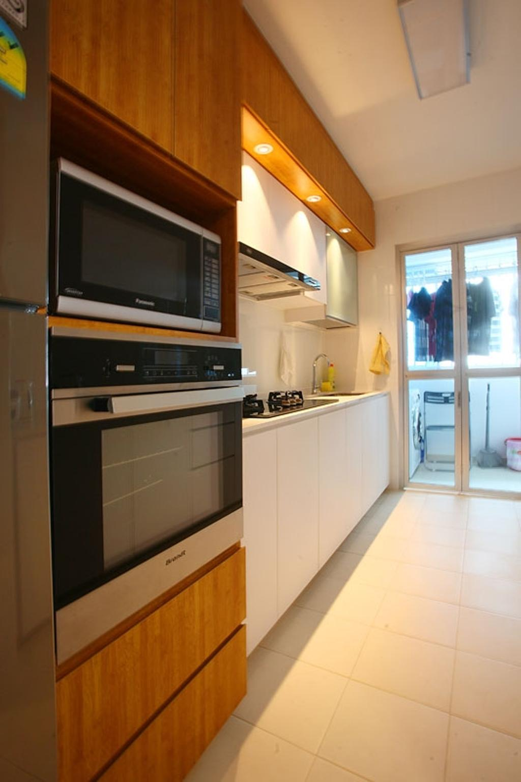 Transitional, HDB, Kitchen, Buangkok Green, Interior Designer, Fineline Design, Kitchen Cabinets, Cabinetry, Oven, Microwave, Downligh, White Cabinet, Brown Cabinet, Built In Oven, Appliance, Electrical Device, Indoors, Interior Design, Room