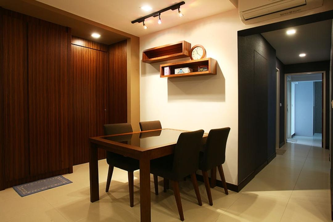 Buangkok Green, Fineline Design, Transitional, Dining Room, HDB, Dining Table, Dining Room Chairs, Chairs, Wall Shelves, Shelves, Shelving, Wood, Wood Grain, Track Lights, Track Lighting, Yellow Lighting, Yellow Light, Chair, Furniture, Indoors, Interior Design, Room, Table