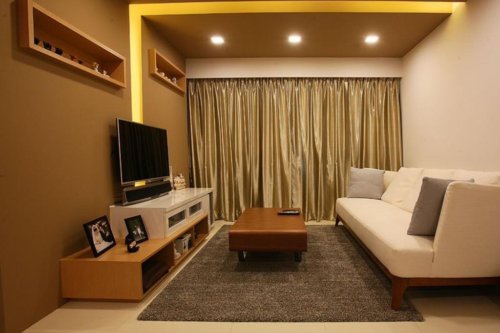 Transitional, HDB, Living Room, Buangkok Green, Interior Designer, Fineline Design, Sofa, Couch, White Sofa, Fabric Sofa, Coffee Table, Carpet, Tv, Tv Console, Tv Cabinet, Wood, Brown, Brown Colour, Gold, Curtain, Downlight, Recessed Lighting, Indoors, Room, Banister, Handrail, Furniture