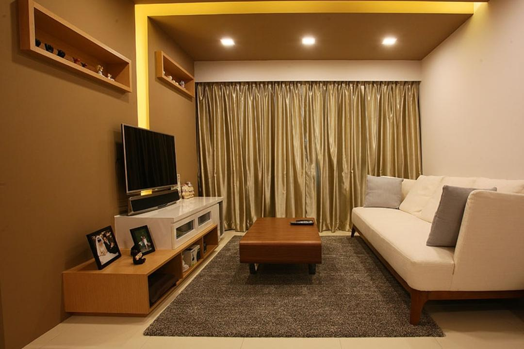 Buangkok Green, Fineline Design, Transitional, Living Room, HDB, Sofa, Couch, White Sofa, Fabric Sofa, Coffee Table, Carpet, Tv, Tv Console, Tv Cabinet, Wood, Brown, Brown Colour, Gold, Curtain, Downlight, Recessed Lighting, Indoors, Room, Banister, Handrail, Furniture