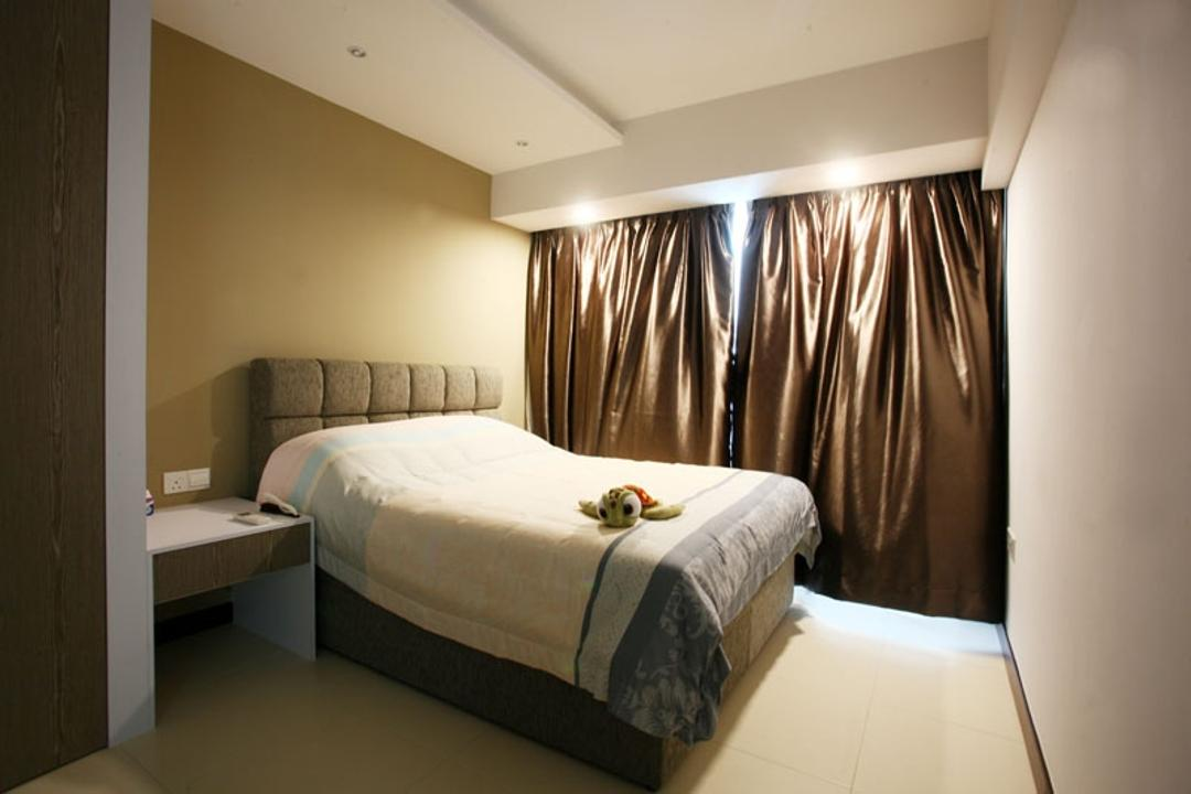 Buangkok Green, Fineline Design, Transitional, Bedroom, HDB, Bed, Glossy, Glossy Curtains, Gold, Curtains, Headboard, Bedside Table, Couch, Furniture, Indoors, Interior Design, Room