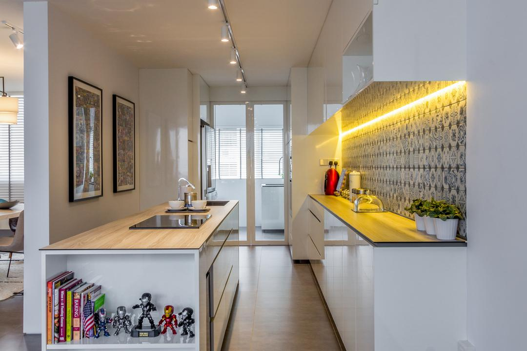 Hougang Avenue 4, Fineline Design, Contemporary, Kitchen, HDB, Kitchen Cabinets, Cabinetry, White Cabinets, White, Track Lights, Track Lighting, White Track Lights, Shelving, Recessed Shelves, Painting, Backsplash, Concealed Lighting, Yellow Lighting, Yellow Lights, Indoors, Interior Design