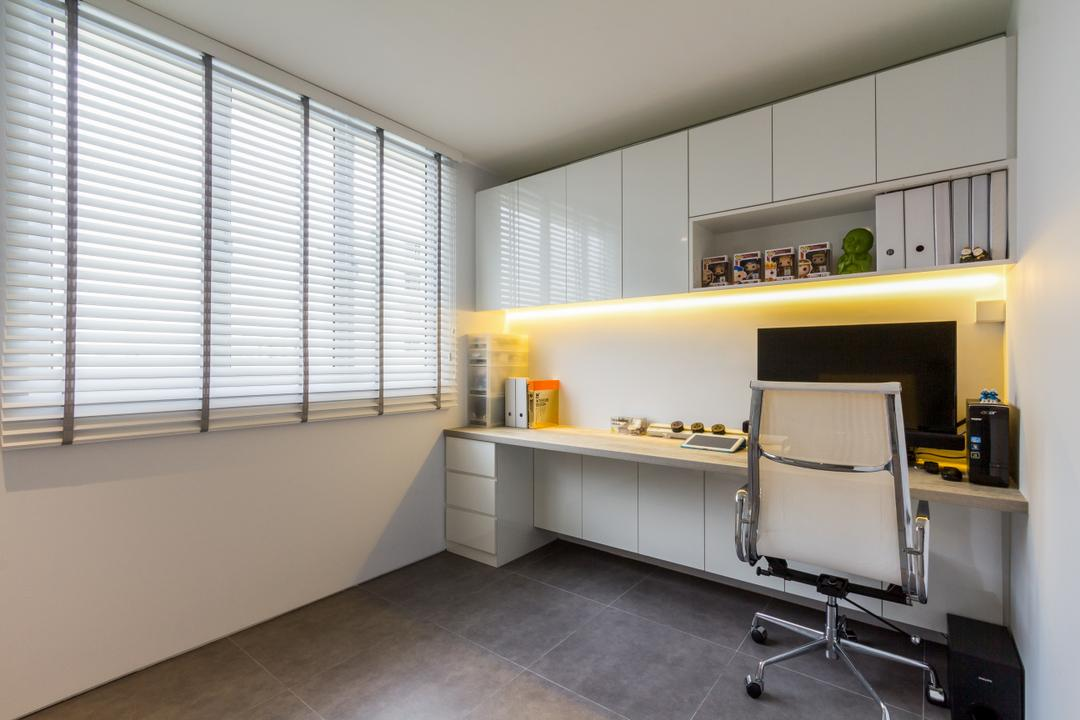 Hougang Avenue 4, Fineline Design, Contemporary, Study, HDB, Blinds, Study Table, Desk, Study Desk, Office Chair, Concealed Lighting, Shelves, Shelving, White, Simple, Neat, Recessed Shelves, Indoors, Room