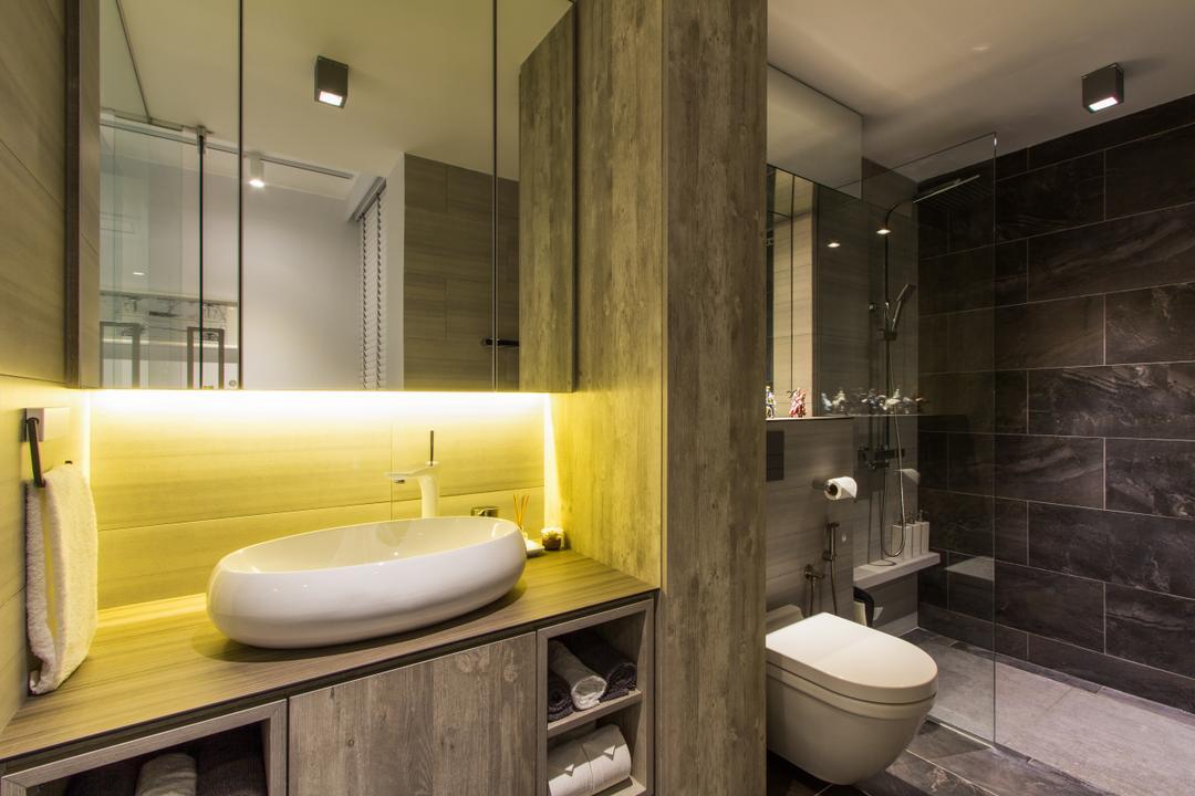 Hougang Avenue 4, Fineline Design, Contemporary, Bathroom, HDB, Bathroom Vanity, Mirror, Bathroom Sink, Sink, Bathroom Rack, Shelves, Concealed Lighting, Towel Rack, Shower Screen, Shower, Bathroom Tiles, Indoors, Interior Design, Room