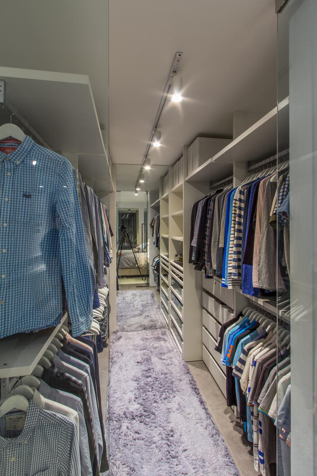 Contemporary, HDB, Bedroom, Hougang Avenue 4, Interior Designer, Fineline Design, Wardrobe, Walk In Wardrobe, Carpet, Clothes, Storage, Storage Space, Track Lights, Track Lighting, Lighting