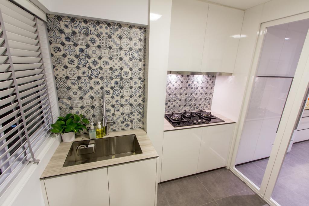 Contemporary, HDB, Kitchen, Hougang Avenue 4, Interior Designer, Fineline Design, Kitchen Sink, Sink, Backsplash, Door, White, Cabinet, Cabinetry, White Cabinet, Stove, Blinds, Banister, Handrail, Staircase