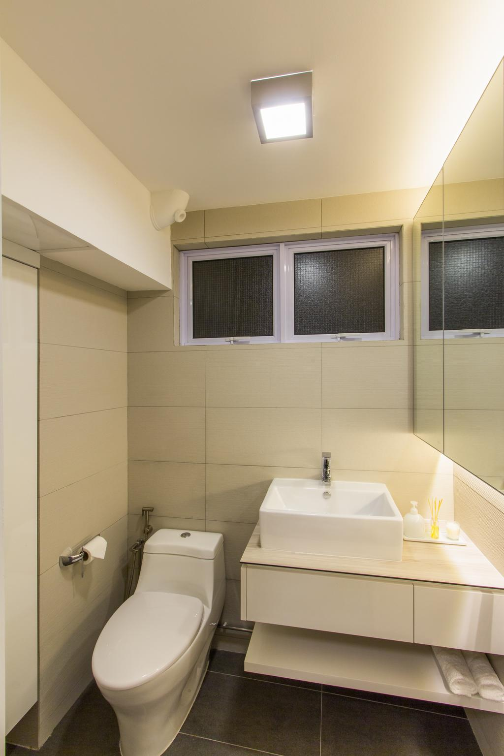 Contemporary, HDB, Bathroom, Hougang Avenue 4, Interior Designer, Fineline Design, Bathroom Sink, Sink, Mirror, Clean, Concealed Lighting, Bathroom Vanity, Indoors, Interior Design, Room