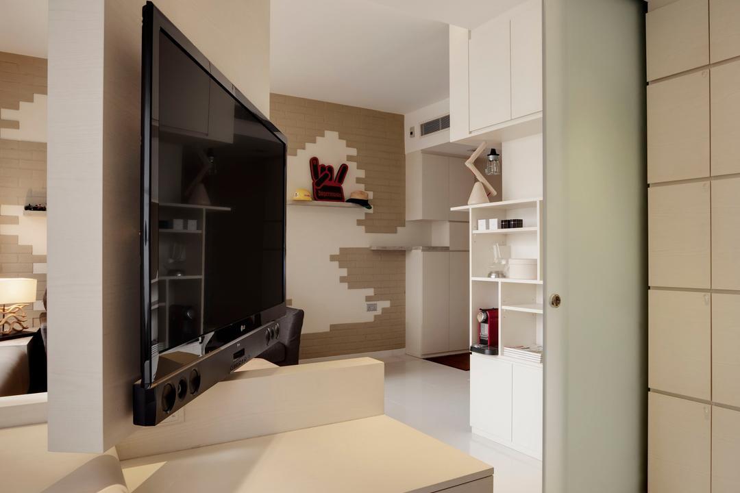 One Shenton, Liid Studio, Modern, Living Room, Condo, False Ceiling, Concealed Lighting, Swivel, Swivel Wall, Brick Wall, Shelf, Display Shelf, Window Seat, Display Unit, Wall Panels, Indoors, Interior Design