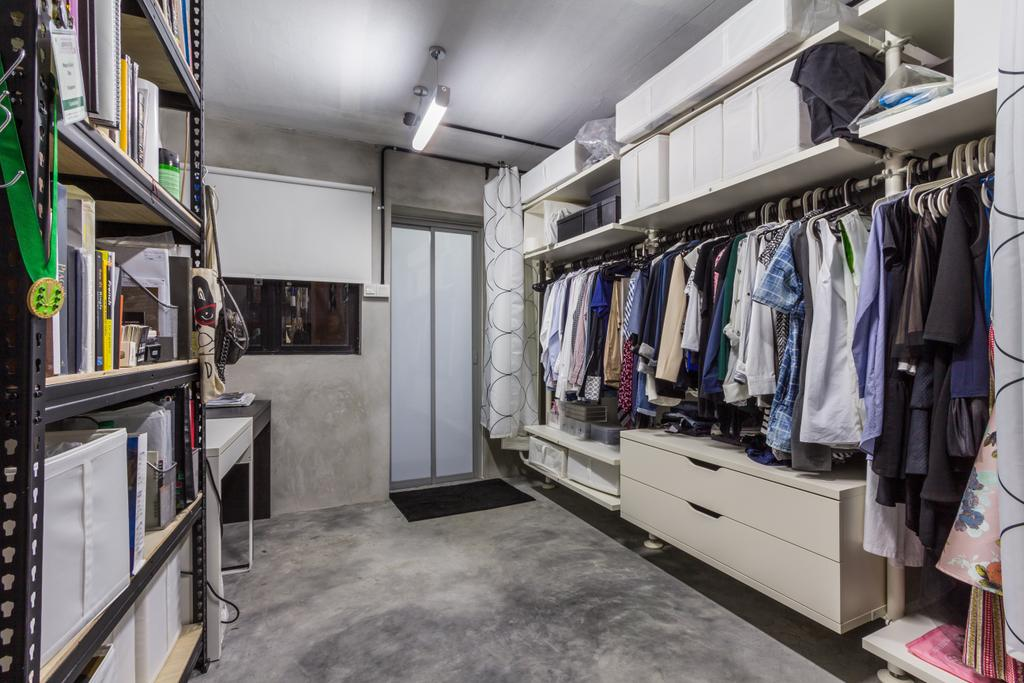 Industrial, HDB, Bedroom, Jalan Rajah, Interior Designer, Fineline Design, Cement Screed Floor, White Blinds, Walk In Wardrobe, Shlecing, Closet