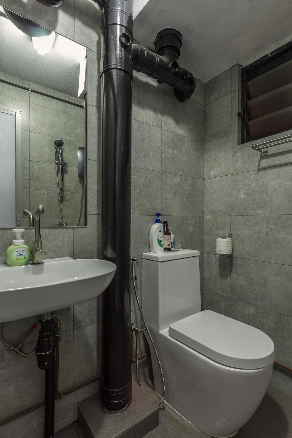 Industrial, HDB, Bathroom, Jalan Rajah, Interior Designer, Fineline Design, Cement Screed Wall, Black Piping, Indoors, Interior Design, Room, Bench