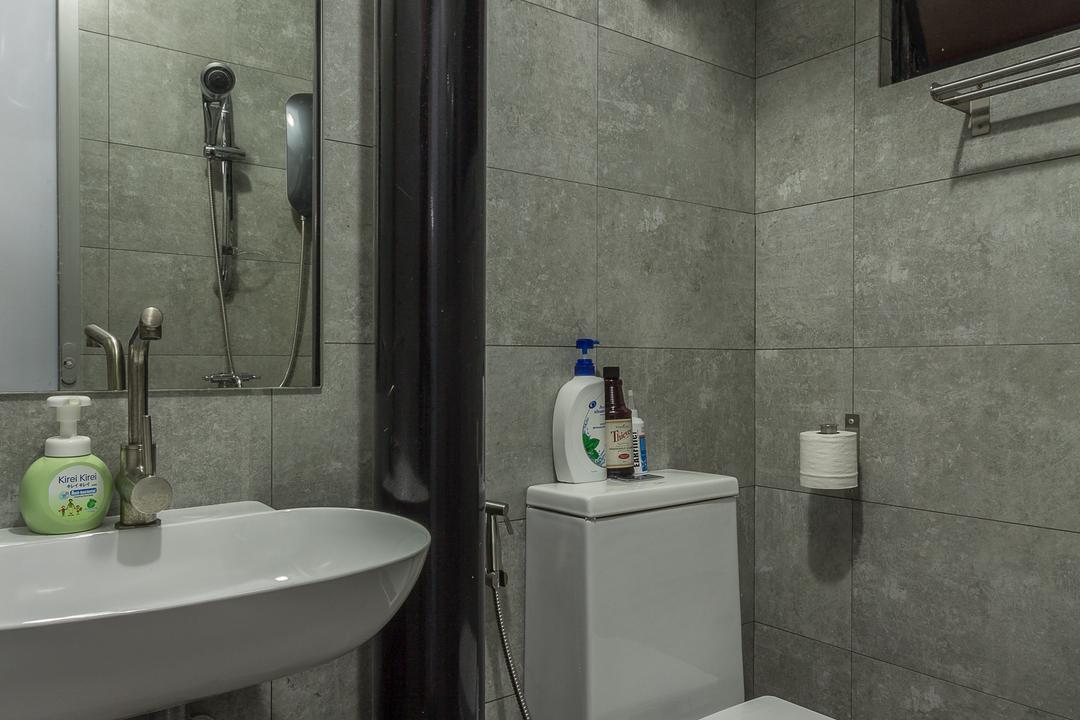 Jalan Rajah, Fineline Design, Industrial, Bathroom, HDB, Cement Screed Wall, Black Piping, Indoors, Interior Design, Room, Bench