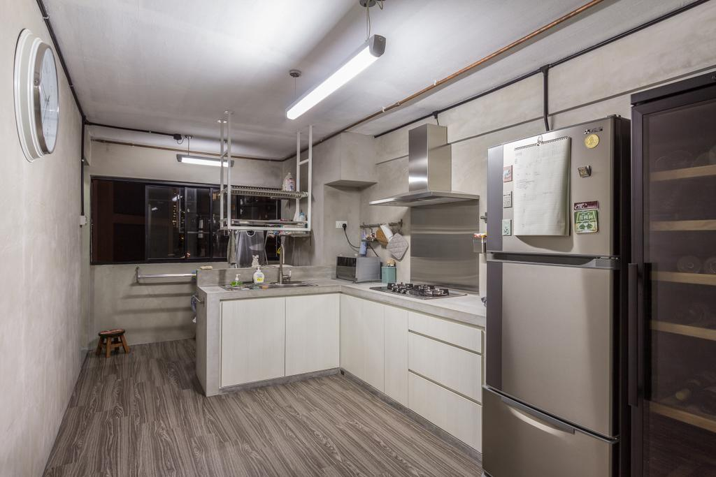 Industrial, HDB, Kitchen, Jalan Rajah, Interior Designer, Fineline Design, Open Kitchen, Dry Kitchen, Aluminum Wall Backing, Hood, Stove, White Cabinets, Wood Floor, Sliver Friedge, Appliance, Electrical Device, Fridge, Refrigerator