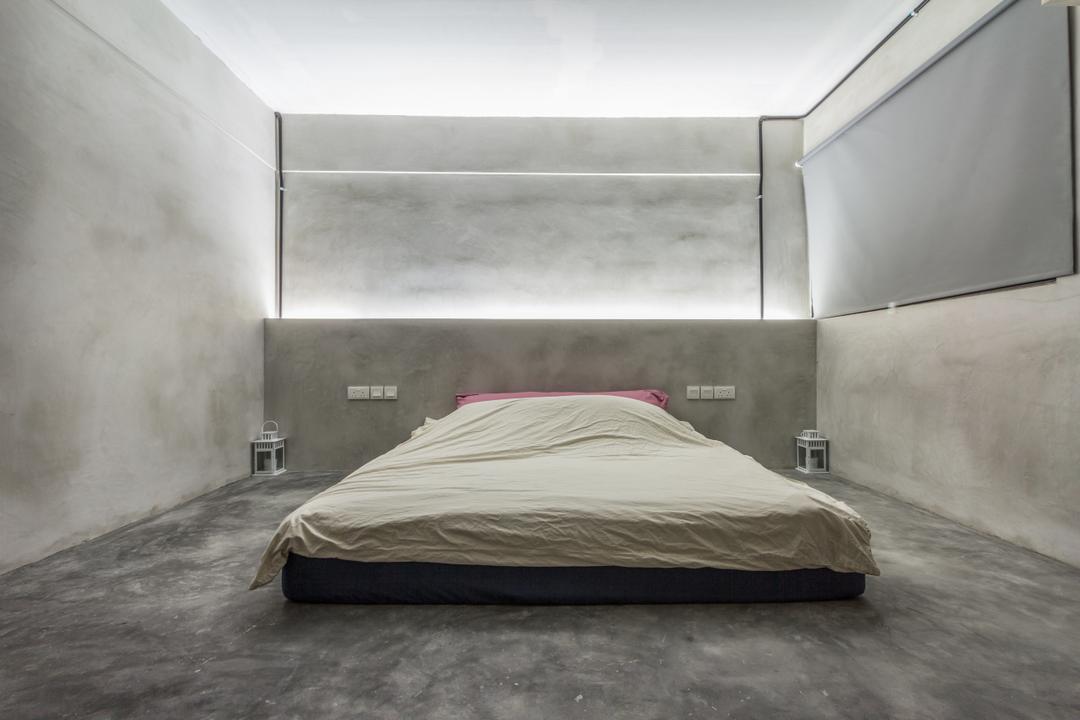 Jalan Rajah, Fineline Design, Industrial, Bedroom, HDB, Cement Screed Wall, Cement Screed Floor, Cement Screed Head Board, Cove Lights