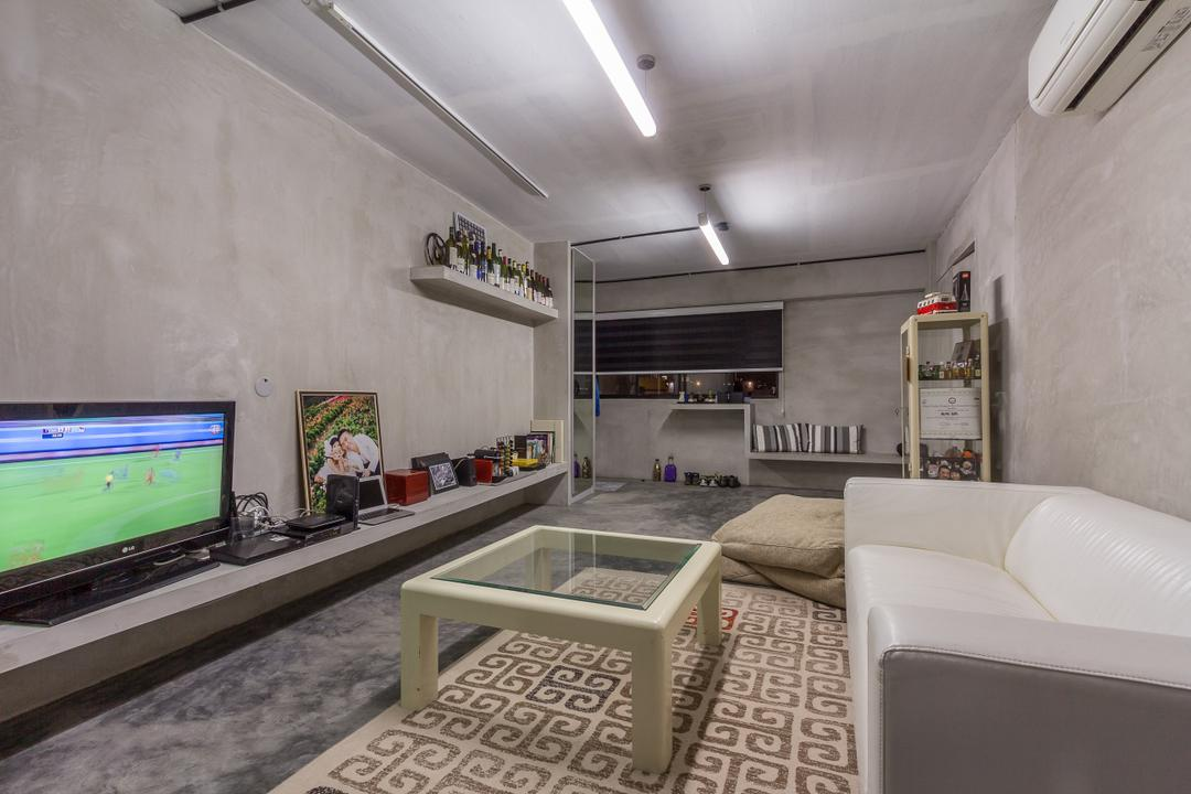 Jalan Rajah, Fineline Design, Industrial, Living Room, HDB, Cement Screed Wall, Grey Tv Console, Glass Coffee Table, White Sofa, Carpet, Rug, Cement Screed Floor